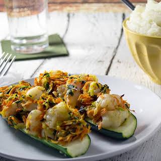 Shrimp Stuffed Zucchini Boats.