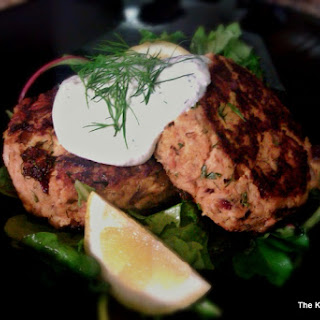 Fresh Salmon Patties with Dill Sauce.