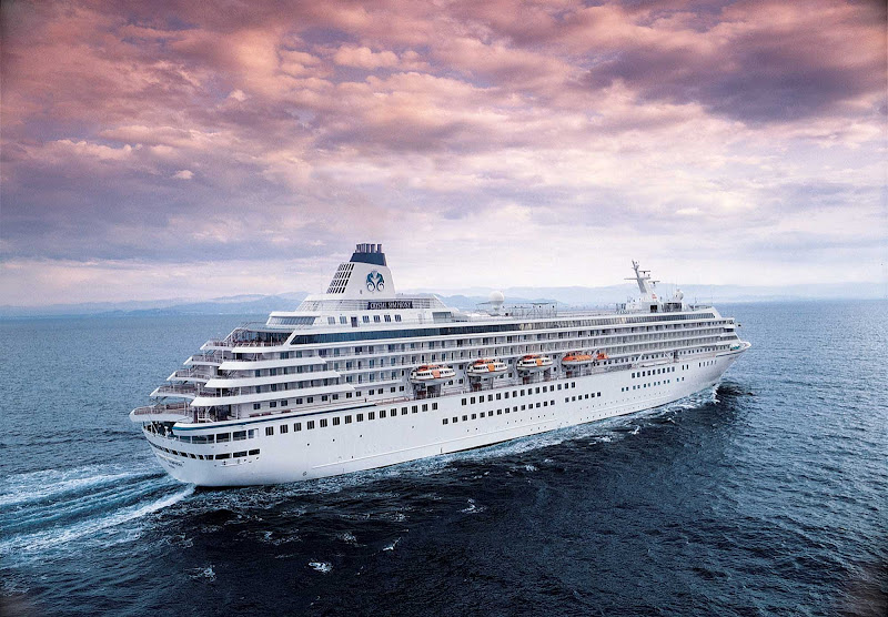 Crystal Symphony at sea. Crystal Cruises continually wins awards as as the world's highest-rated luxury cruise line.