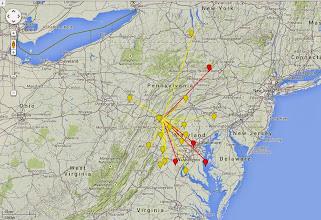 Photo: K8GP/R - FM19aw 50-432 MHz QSO map - ARRL June VHF 2014 - Brn=50 Red=144 Org=222 Yel=432
