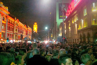 Photo: We arrived in Melbourne just in time for the annual all-night cultural festival White Night.  Almost 500,000 people came to see street art and some indoor exhibitions.  This was about 10pm.  We came back at 6am and had it almost to ourselves.