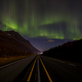 The roads to Aurora by Geir Hammer - Landscapes Starscapes ( sky, mountain, night photography, northern lights, aurora borealis, aurora, night, road, photo, photography, nightscape, skyscape,  )