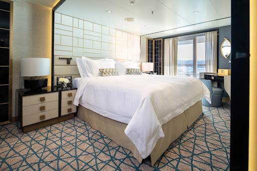 A bedroom suite on Seven Seas Splendor.