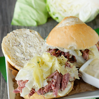 Toasted Corned Beef & Cabbage Sliders With Mustard Sauce.
