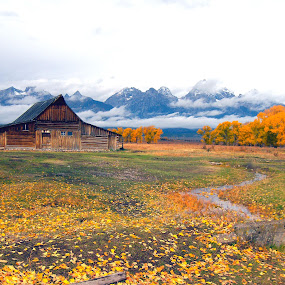 JACKSON VALLEY IN THE GRAND TETONS by Gerry Slabaugh - Landscapes Prairies, Meadows & Fields ( wyoming, antelope road, mormon row, jackson wyoming, landscape, grand tetons, field, mountains, barn, autumn, meadow, jackson hole, tetons,  )