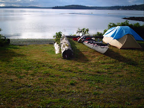 Photo: Campsite at Alder Bay with Cormorant Island and Broughton Strait in the background.