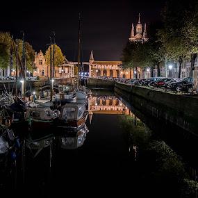 by Twan Konings - Transportation Boats ( harbor, boats, night, netherlands, zierikzee )