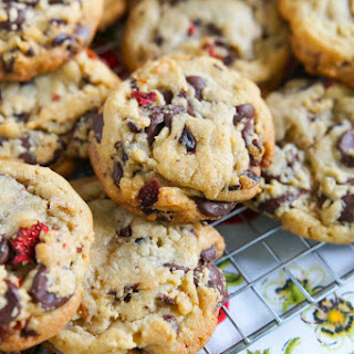 Strawberry Cocoa Nib Chocolate Chip Cookies.