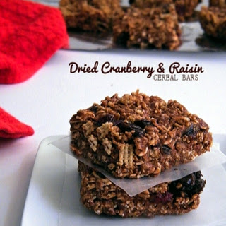 Dried Cranberry and Raisin Chocolate Cereal Bars