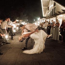 Sparks of Love by Kate Gansneder - Wedding Reception ( bride, groom, couple, sparkler, wedding photography, special exit, sparkler exit, wedding, reception )