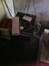 Photo: Some hardware in need of more cabinets. Mostly powered by a solar inverter but with work going on it had been dismantled for safety.