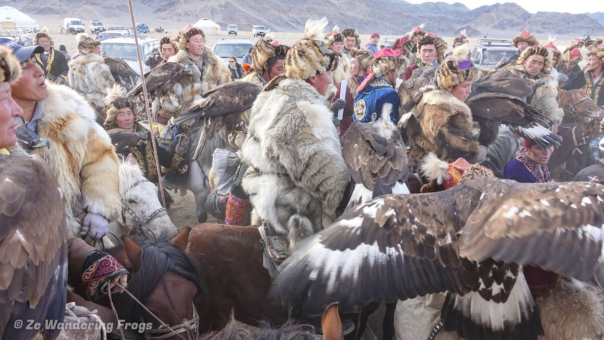 Mongolia. Golden Eagle Festival Olgii. Kazakh traditions of horses, eagles and hunters