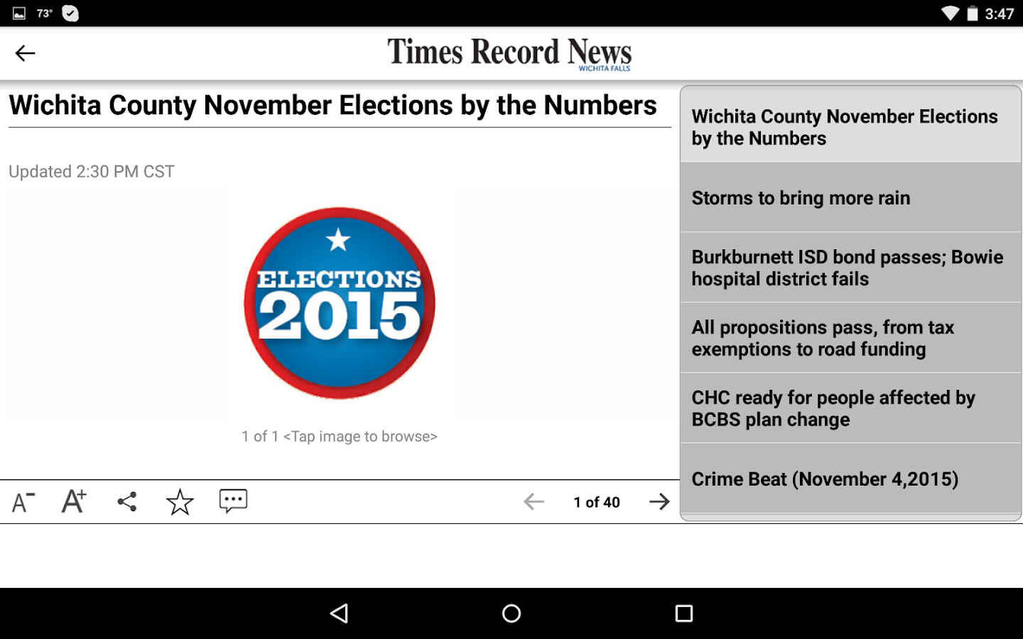 Times Record News- screenshot