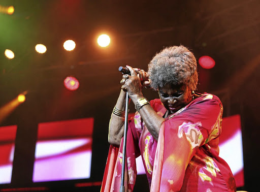 Legendary musician Dorothy Masuka performs at the Cape Town International Jazz Festival . / ESA ALEXANDER