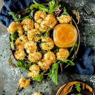 Oven Baked Coconut Shrimp with Horseradish Marmalade.