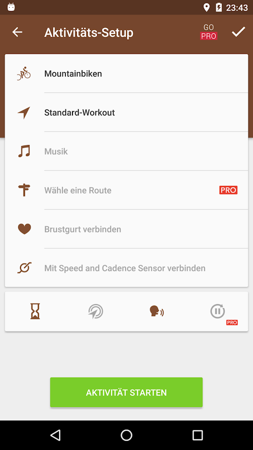 Runtastic Mountain Bike GPS – Screenshot