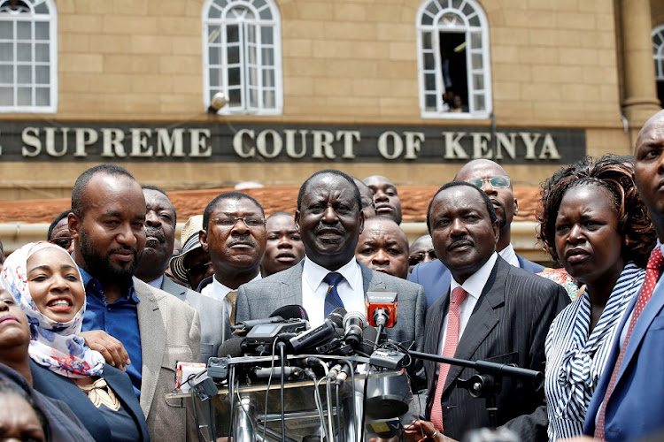 Opposition leader Raila Odinga speaks at a news conference outside the court after President Uhuru Kenyatta's election win was declared invalid in Nairobi, Kenya, September 1 2017. Picture: REUTERS