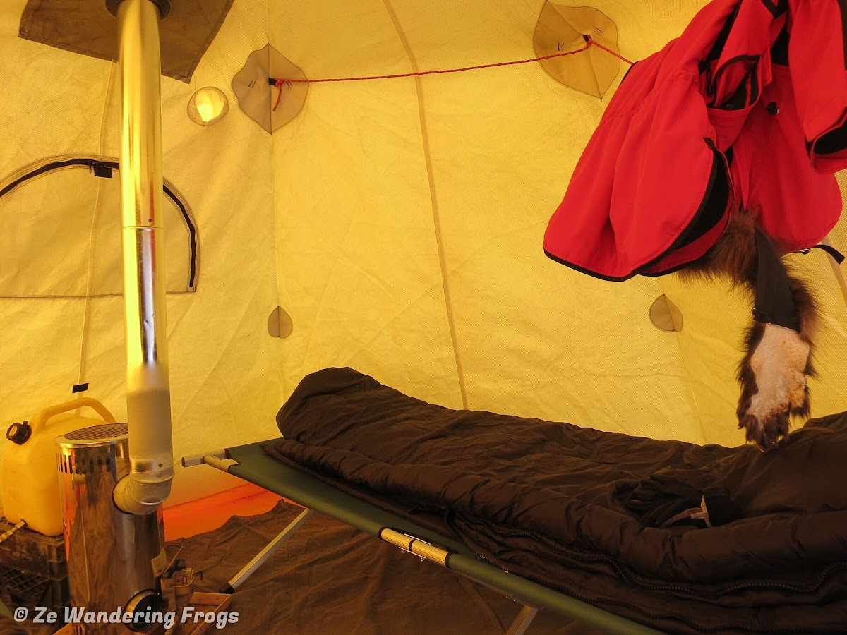 Arctic Canada Inuvik Winter Camping Tundra Dog Sledding // Luxury camping with cot, Arctic-rated duvet, and stove
