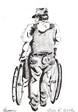 Photo: 推手2012.07.06鋼筆 大家若是到羅東聖母醫院,就經常會看到監獄的同事推著坐輪椅的收容人看診的光景,做這行不是只有戒護收容人,他們進了醫院,我們就連醫療上的照顧都要一手包辦。與其說是在病房戒護,還不如說是在當看護,護士打針、抽痰、翻身換床單時要我們幫忙,我們借個被單枕頭用卻又常給我們臉色看。我們有時還要為無法自理生活的收容人把屎把尿,更要餵飯洗澡。多年前我回法務部開會,一位同仁哽咽地說,他上班得要在病房幫收容人換尿布,卻沒法調回家去照顧臥床的母親和見她最後一面,台上的長官卻只是一臉木然地看著他。而前兩年更有位同仁在護士為HIV收容人進行抽痰時過去幫忙,卻意外地被痰噴到眼睛…在這經濟不景氣的年代裡,加上國考補習班推波助瀾說監所管理員最好考,於是想進來吃這行飯的人越來越多,但這個鐵飯碗真的好捧嗎?說公務員是必要之惡時民眾頻點頭,但大家安居樂業時誰會想到我們?