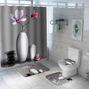 Set pentru baie- perdea, covorase si husa de toaleta, Relax