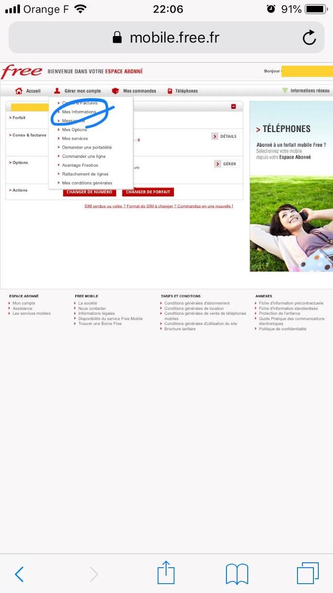free mobile 支払い方法の変更 クレジットカード Mes informations / 私の情報