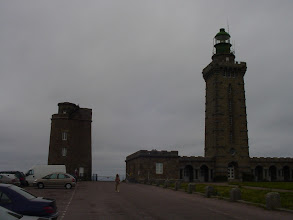 Photo: It has turned gray and windy when we arrive at Cap Frehel, a popular tourist spot on the Cote d'Emeraude (Emerald Coast) west of Saint-Malo. The 108 foot square lighthouse was built in 1950. The 49 foot round tower is what remains of the original 1702 lighthouse.