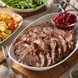Dijon and Herb Rubbed Beef Roast with Cranberry Sauce Recipe