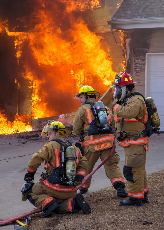 Waiting On Water by Gerald Glaza - People Professional People ( heroes, firefighters, rescue, firstresponders, fire,  )