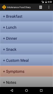 Intolerance Food Diary - screenshot