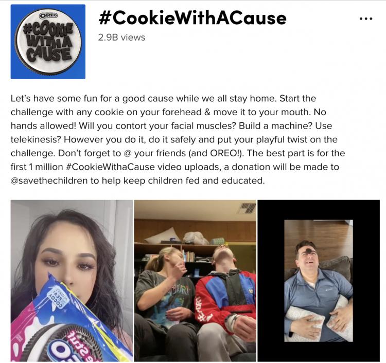 Oreo가 TikTok에서 호스팅하는 #CookieWithACause 캠페인의 스크린 샷.