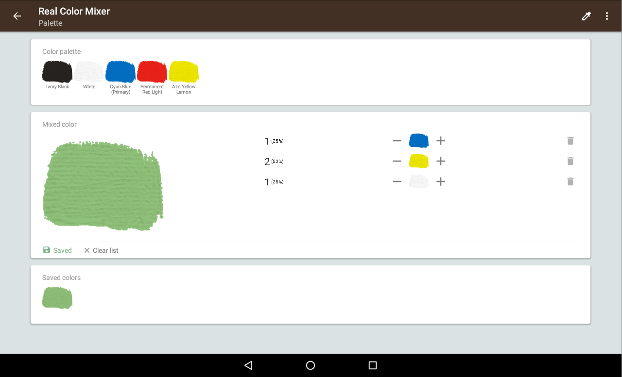 Online color mixer tool - Real Color Mixer Screenshot