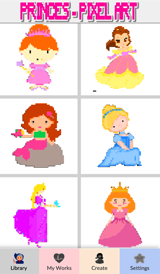 Princess Color By Number Pixel Art Coloring Book Android