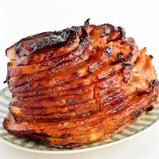 Baked Ham with Pineapple Brown Sugar Glaze.