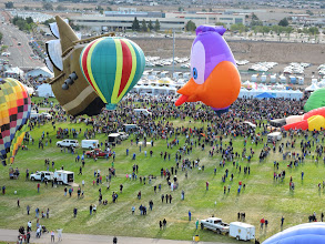Photo: Looking down on the field from up in a balloon