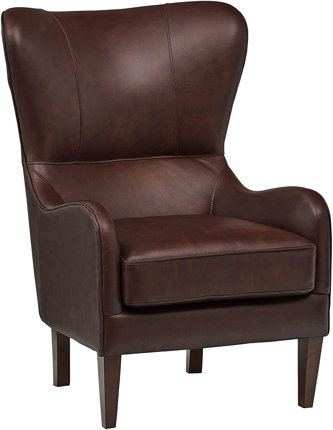 stone and beam Leather wingback reading chairs for bedroom