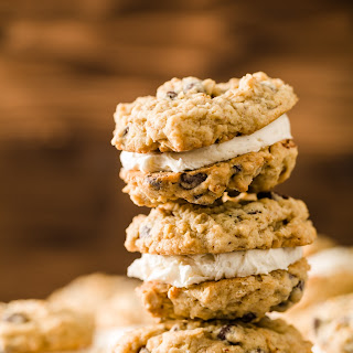 Chocolate Chip Oatmeal Cream Pies With Vanilla Bean Filling