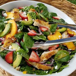 Crispy Quinoa Chicken & Strawberry Spinach Salad.