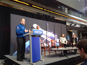 Photo: NASA Astronaut John Grunsfeld, who flew service missions to the Hubble Space Telescope, addresses attendees of the Hubble 25th Anniversary Image Unveiling at the Newseum.