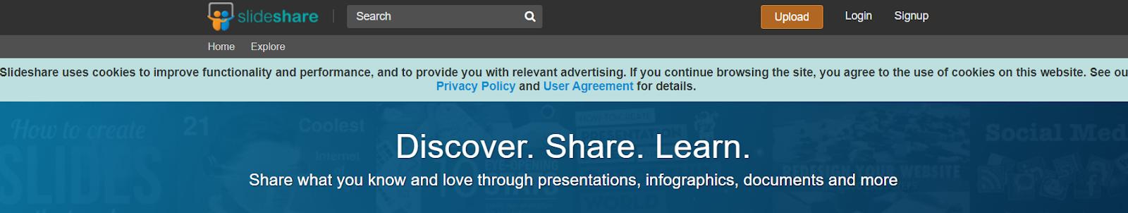 Screenshot of Slideshare - Presentation Slides Search Engine