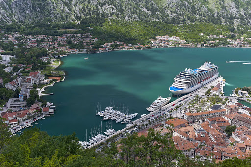 View of Kotor, Montenegro, and Oceania's Riviera as seen from the Castle of San Giovanni.