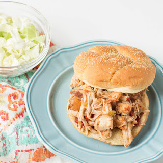 Slow Cooker Mango Habanero Salsa Pulled Chicken.