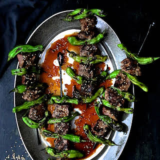 Grilled Japanese Beef and Shishito Pepper Skewers.