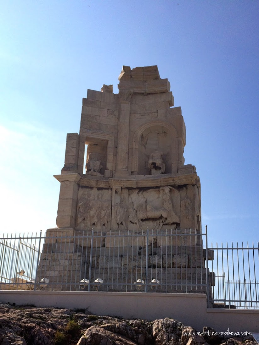 Monument at the top of Filpappou hill, Athens, Greece