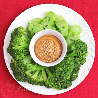 Steamed Broccoli with Miso Peanut Butter Sauce.