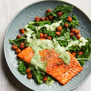 Roasted Salmon with Smoky Chickpeas & Greens Recipe