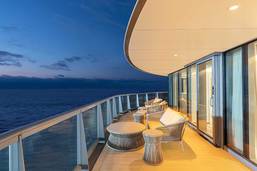 Look out at the Galapagos Islands from the veranda of the Owners Suite on Silver Origin.