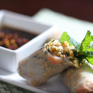 Minted Quinoa Spring Rolls with Toasted Cashews and Tahini.