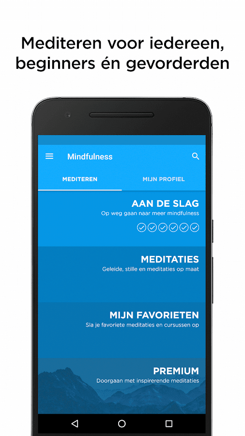 De Mindfulness App: screenshot
