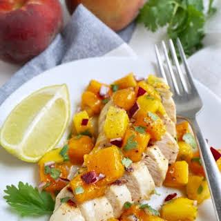 Grilled Chicken with Peach Mango Salsa.