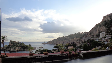 Photo: Looking south from Mazzaro across Isola Bella, Taormina lido